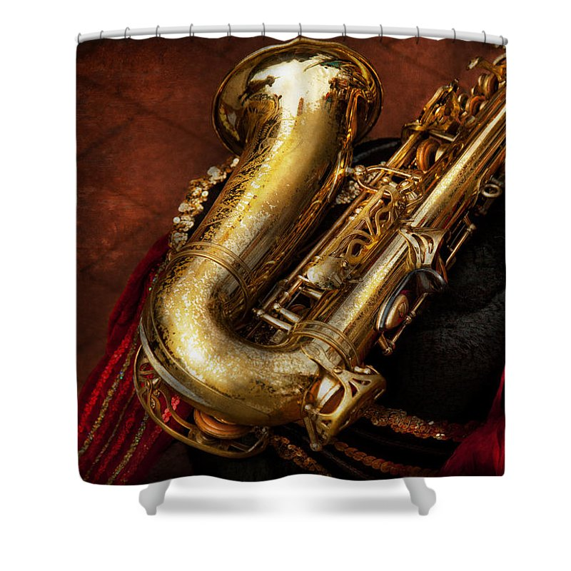 Hdr Shower Curtain featuring the photograph Music - Brass - Saxophone by Mike Savad