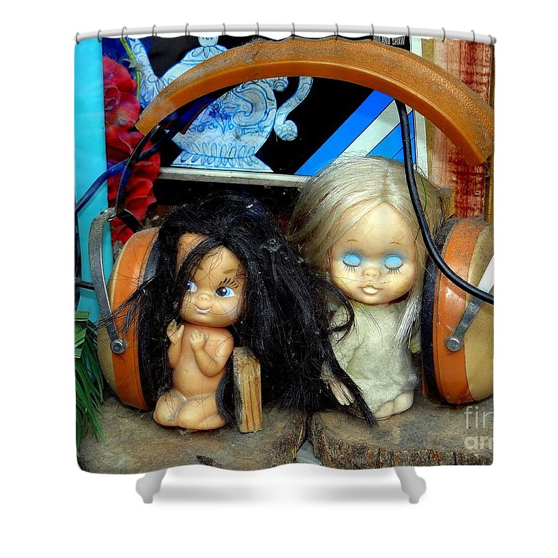 Dolls Shower Curtain featuring the photograph Music Sharing by Ed Weidman