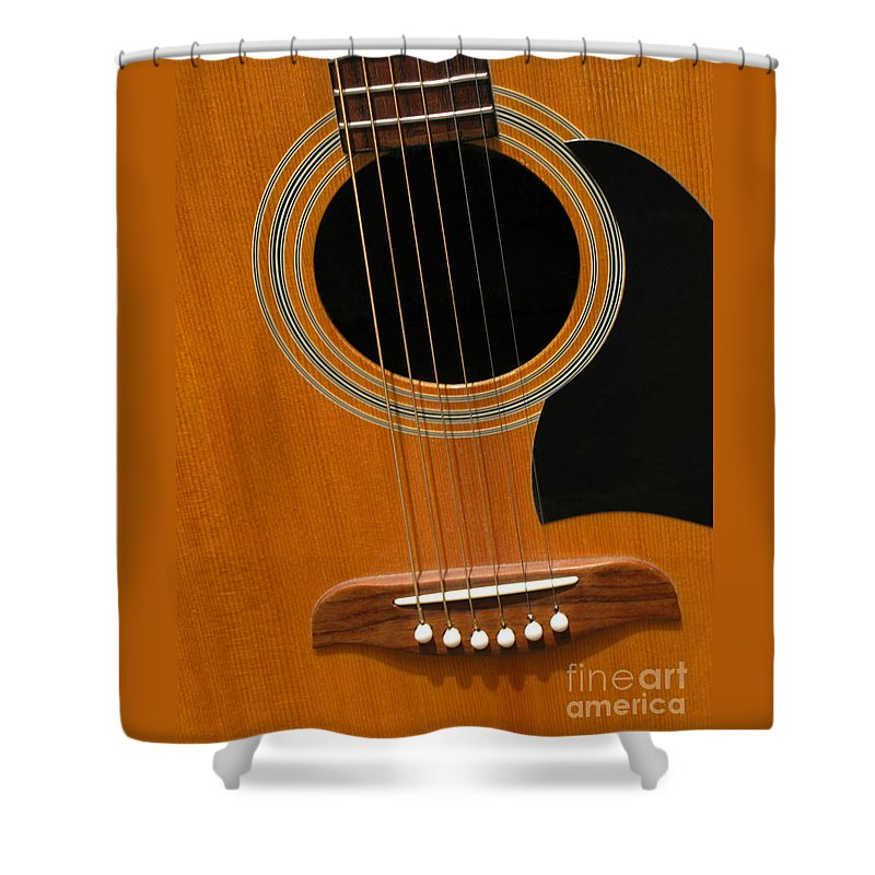 Guitar Shower Curtain featuring the photograph Musical Abstraction by Ann Horn