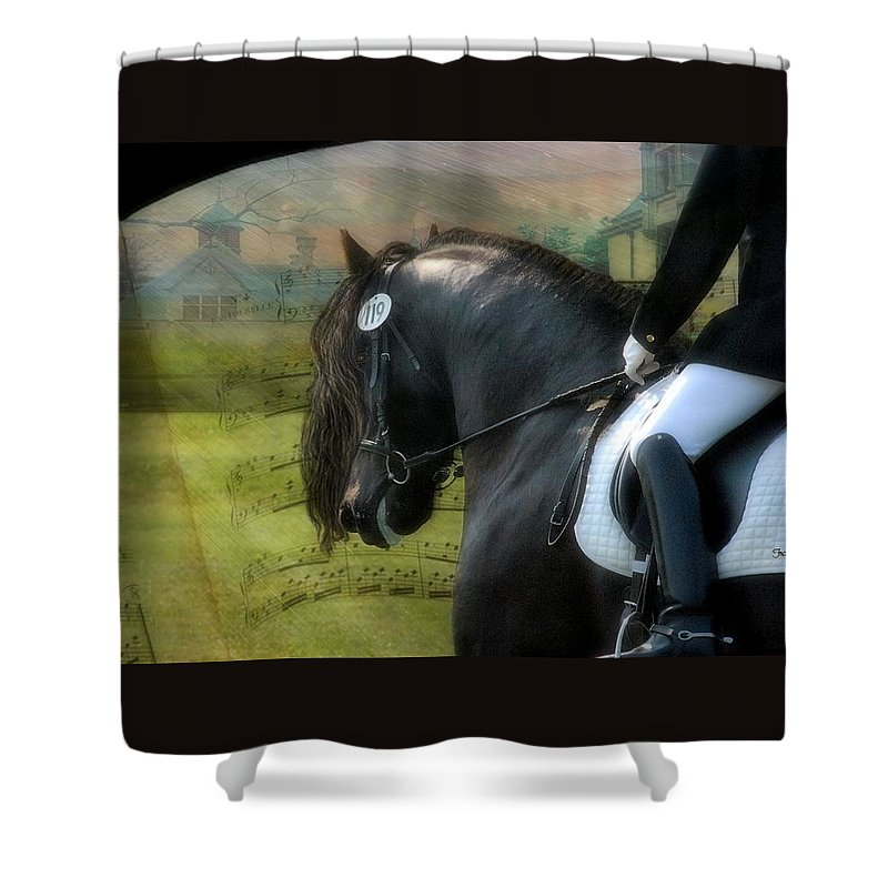 Friesian Horses Shower Curtain featuring the digital art Musical Freestyle by Fran J Scott