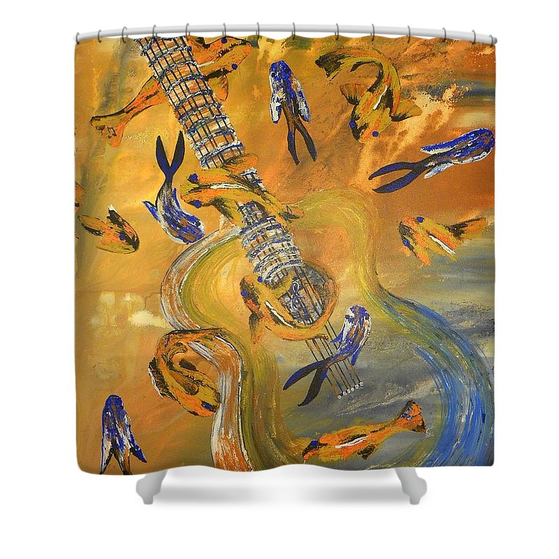 Landscape Shower Curtain featuring the painting Musical Waters by Ann Mikhail