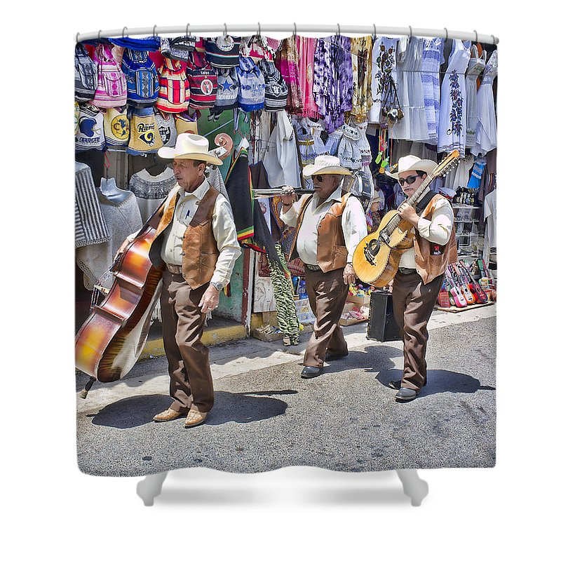 Musicians Shower Curtain featuring the photograph Musicians La Bufadora by Hugh Smith