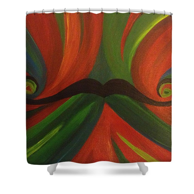 Red Shower Curtain featuring the painting Mustache by Mya Soliman