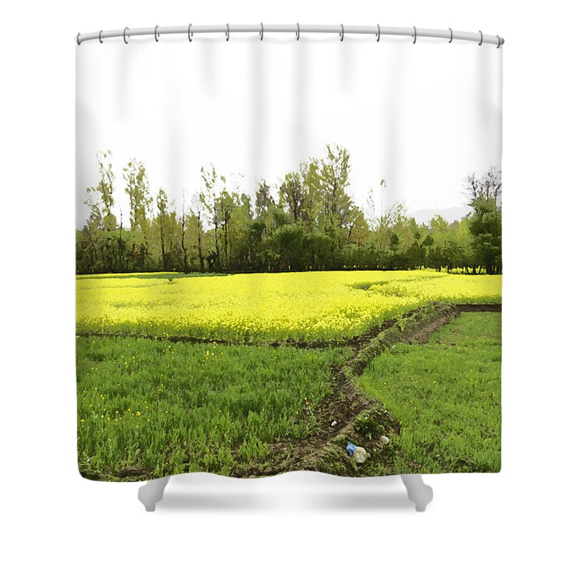 Bed Of Yellow Flowers Shower Curtain featuring the digital art Mustard Fields In Kashmir On The Way To The Town Of Sonamarg by Ashish Agarwal