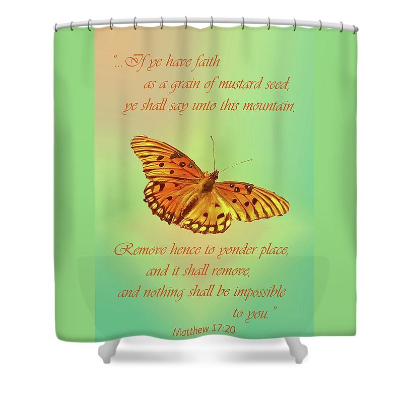Bible Verses Shower Curtain Featuring The Photograph Mustard Seed Faith By Larry Bishop
