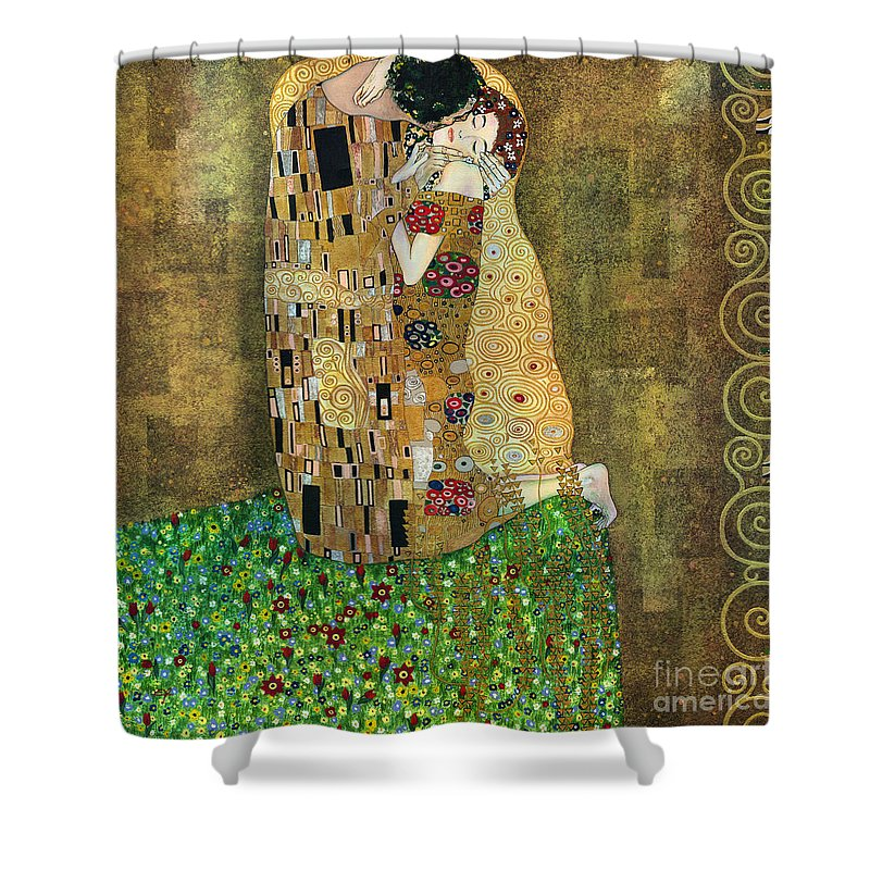 Acrylic Shower Curtain featuring the painting My Acrylic Painting As An Interpretation Of The Famous Artwork Of Gustav Klimt The Kiss - Yakubovich by Elena Yakubovich