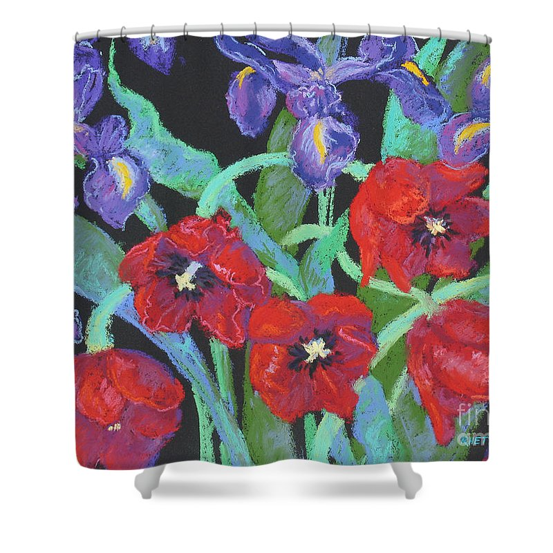 Flowers Shower Curtain featuring the painting My Birthday Bouquet by Rhett Regina Owings