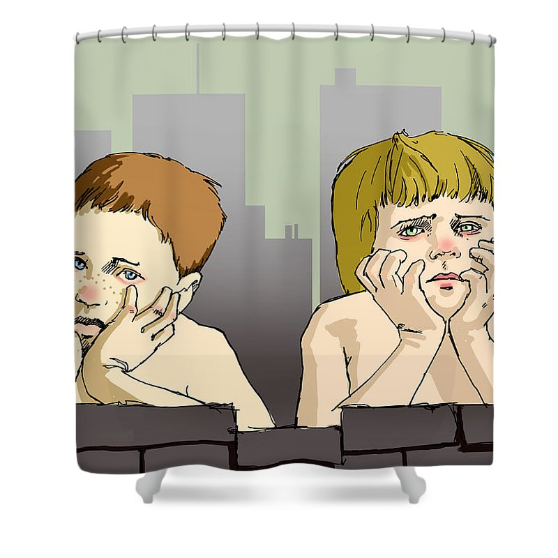 Children Shower Curtain featuring the painting My Brother And Me by H James Hoff