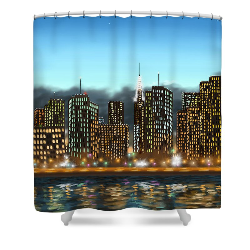 Digital Shower Curtain featuring the painting My Dream by Veronica Minozzi