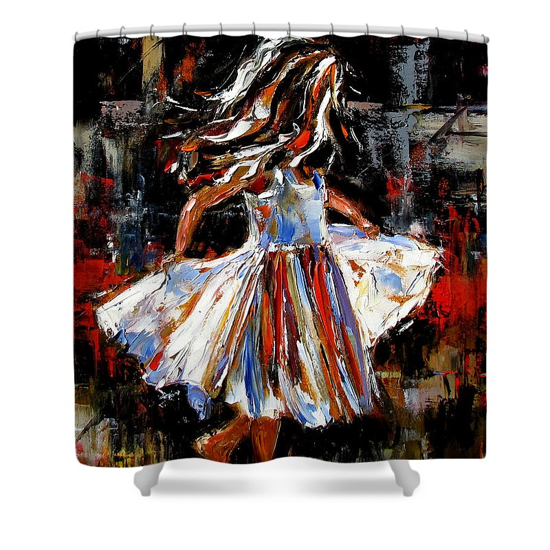 Child Shower Curtain featuring the painting My Dress by Debra Hurd