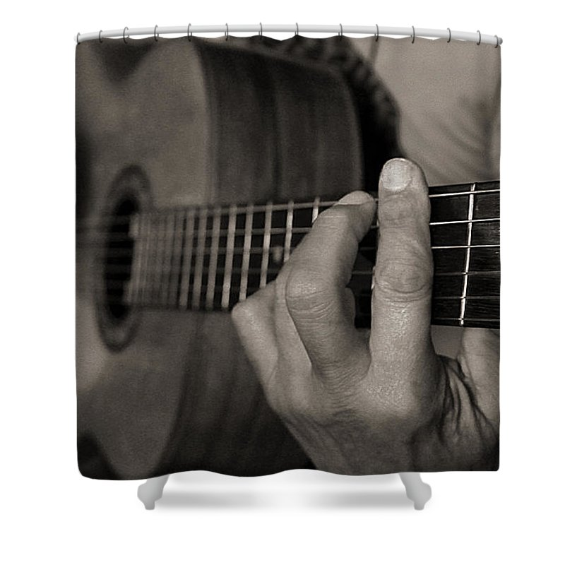 Guitar Shower Curtain featuring the photograph My Father's Hands By Diana Sainz by Diana Raquel Sainz