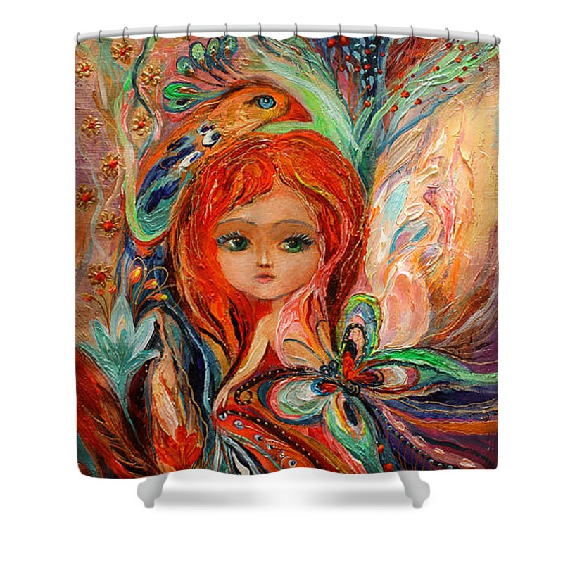 Toys Shower Curtain featuring the painting My Fiery Fairy Gwendolyn by Elena Kotliarker