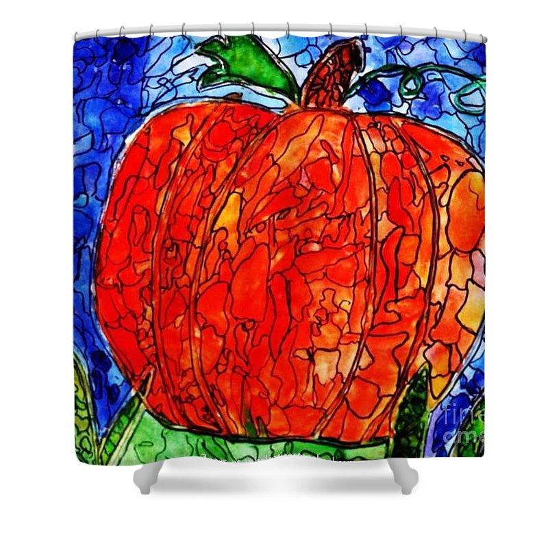 Blue Pumpkin Shower Curtain featuring the painting My Halloween Pumpkin by PainterArtist FIN