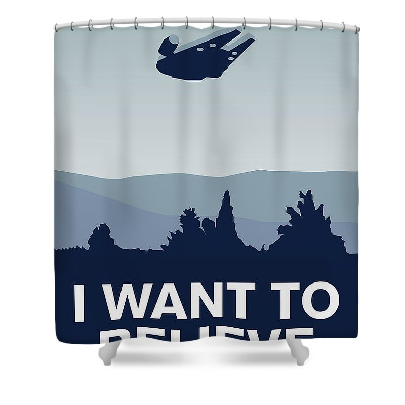 Classic Shower Curtain featuring the digital art My I Want To Believe Minimal Poster-millennium Falcon by Chungkong Art