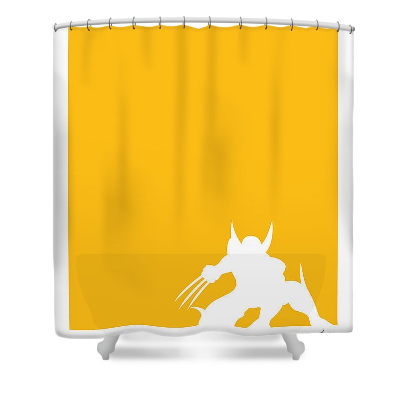 Superheroes Shower Curtain Featuring The Digital Art My Superhero 05 Wolf Yellow Minimal Poster By Chungkong