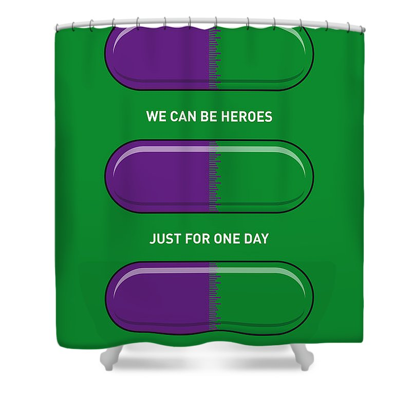 Superheroes Shower Curtain Featuring The Digital Art My Superhero Pills