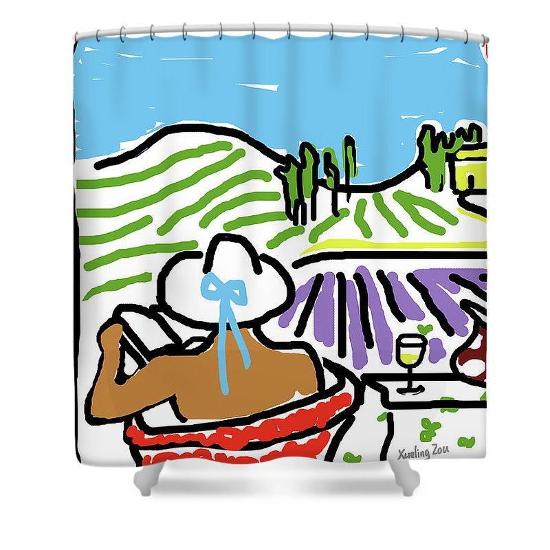 Digital Art Shower Curtain featuring the painting My Tuscany Dream 2 by Xueling Zou