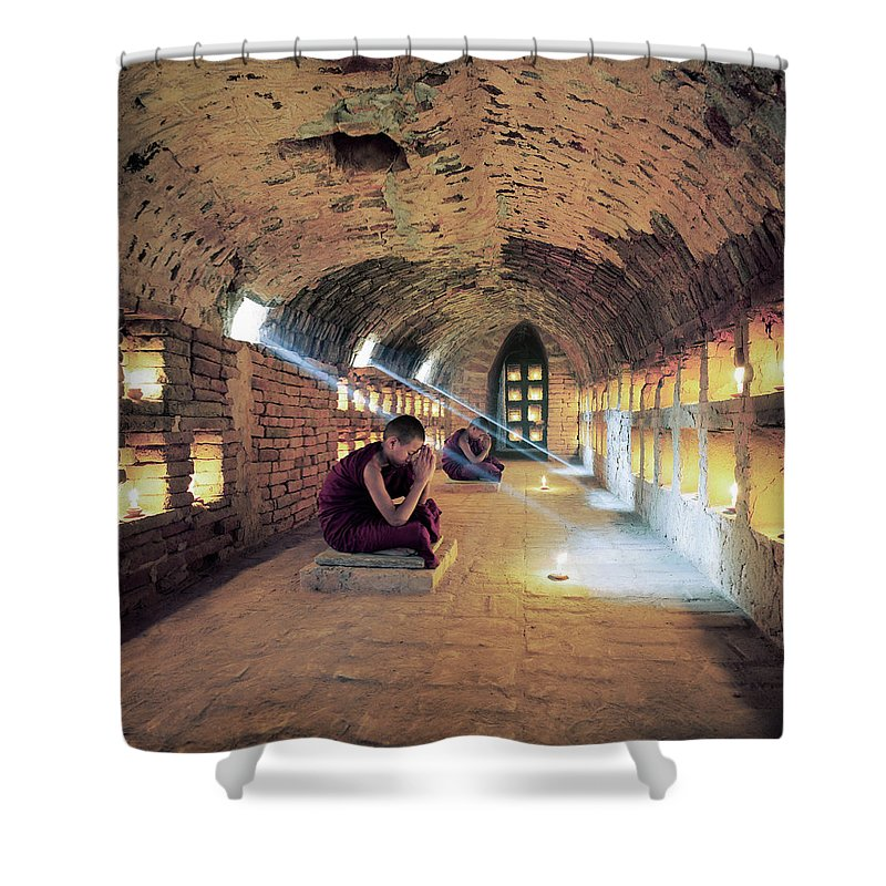 Arch Shower Curtain featuring the photograph Myanmar, Buddhist Monks Inside by Martin Puddy