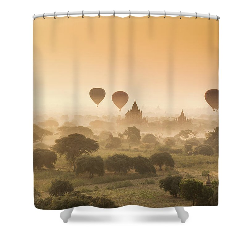 Tranquility Shower Curtain featuring the photograph Myanmar Burma - Balloons Flying Over by 117 Imagery