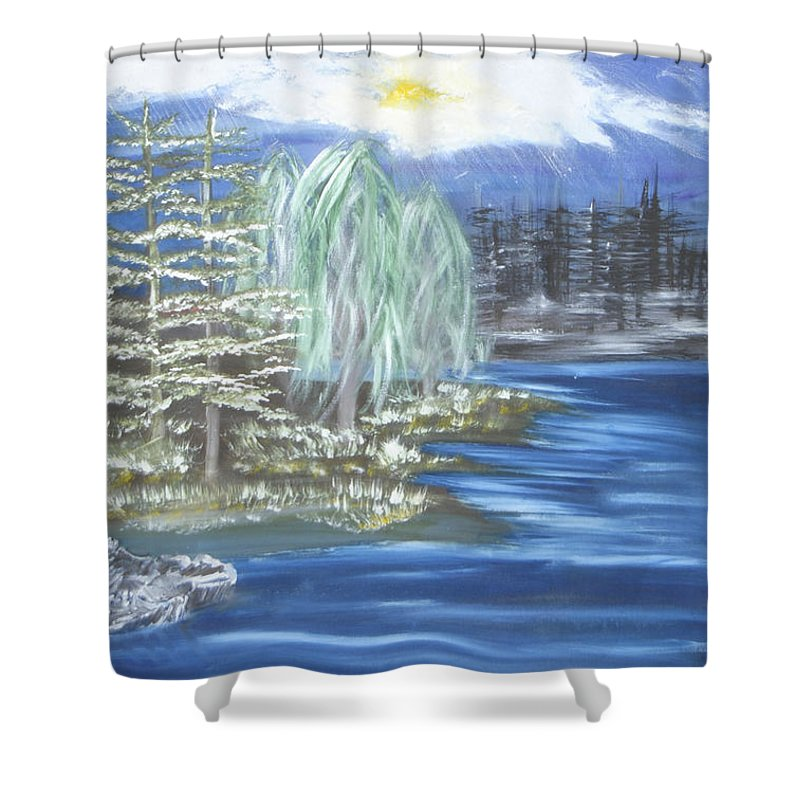Trees Shower Curtain featuring the painting Mysterious Trees by Suzanne Surber
