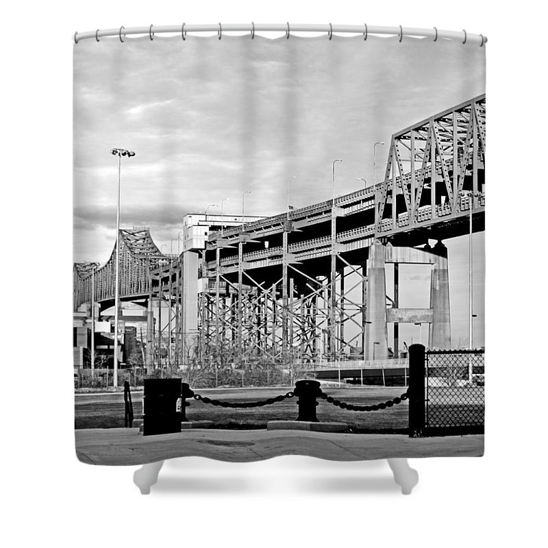 Cityscape Shower Curtain featuring the photograph Mystic Black And White by Barbara McDevitt
