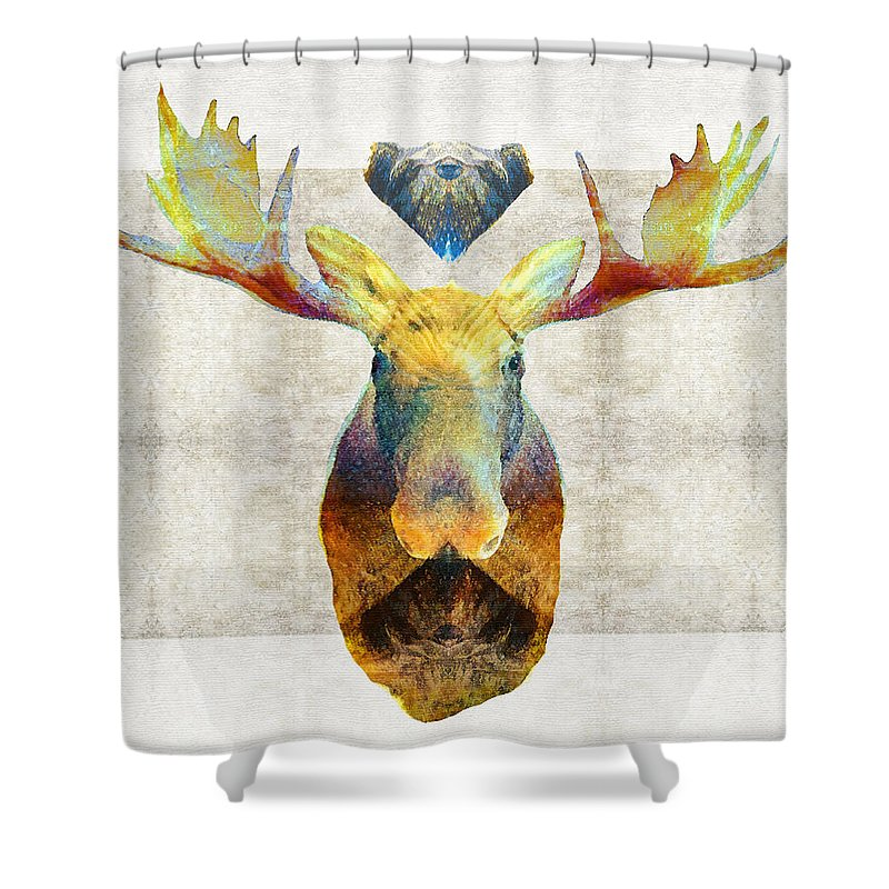 Moose Shower Curtain Featuring The Painting Mystic Art By Sharon Cummings