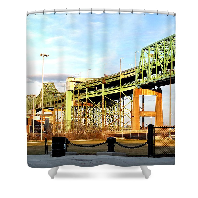 Landscape Shower Curtain featuring the photograph Mystic River Bridge by Barbara McDevitt