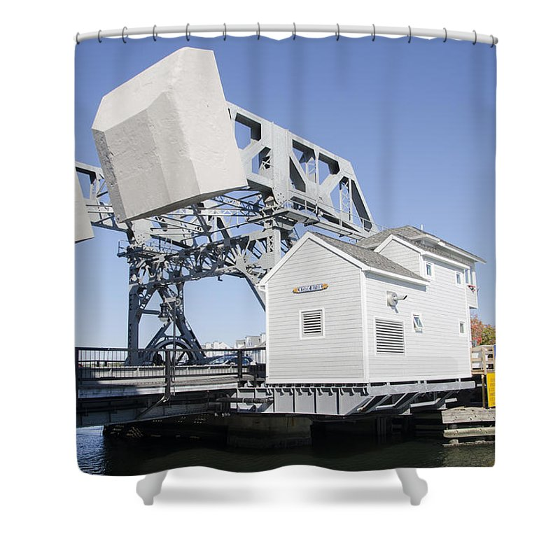 Connecticut Shower Curtain featuring the photograph Mystic River Drawbridge by Bill Cannon