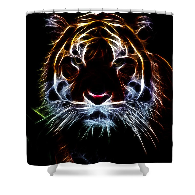 Tiger Shower Curtain featuring the photograph Mystic Tiger by Athena Mckinzie