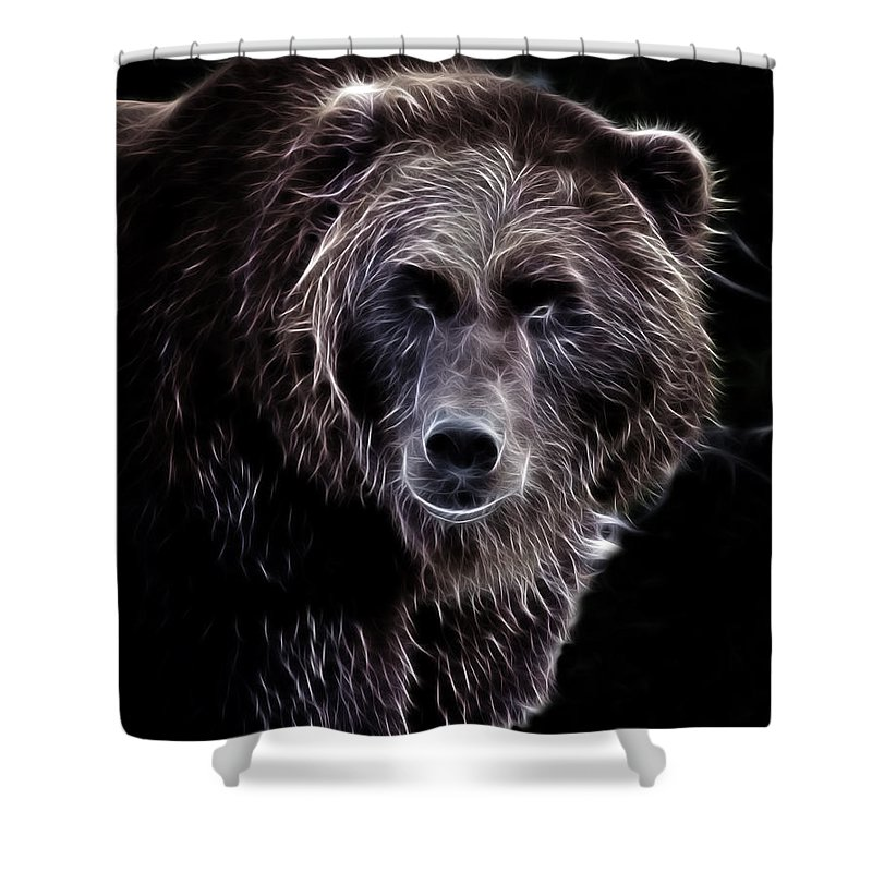 Grizzly Shower Curtain featuring the photograph Mystical Bear by Athena Mckinzie
