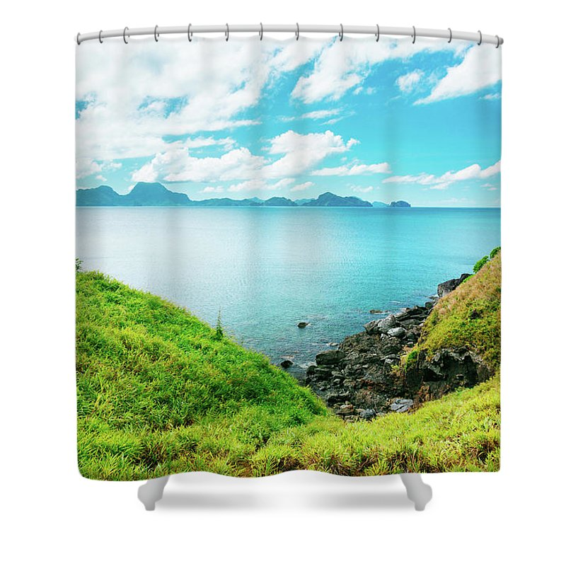 Scenics Shower Curtain featuring the photograph Nacpan Beach Hills by Danilovi