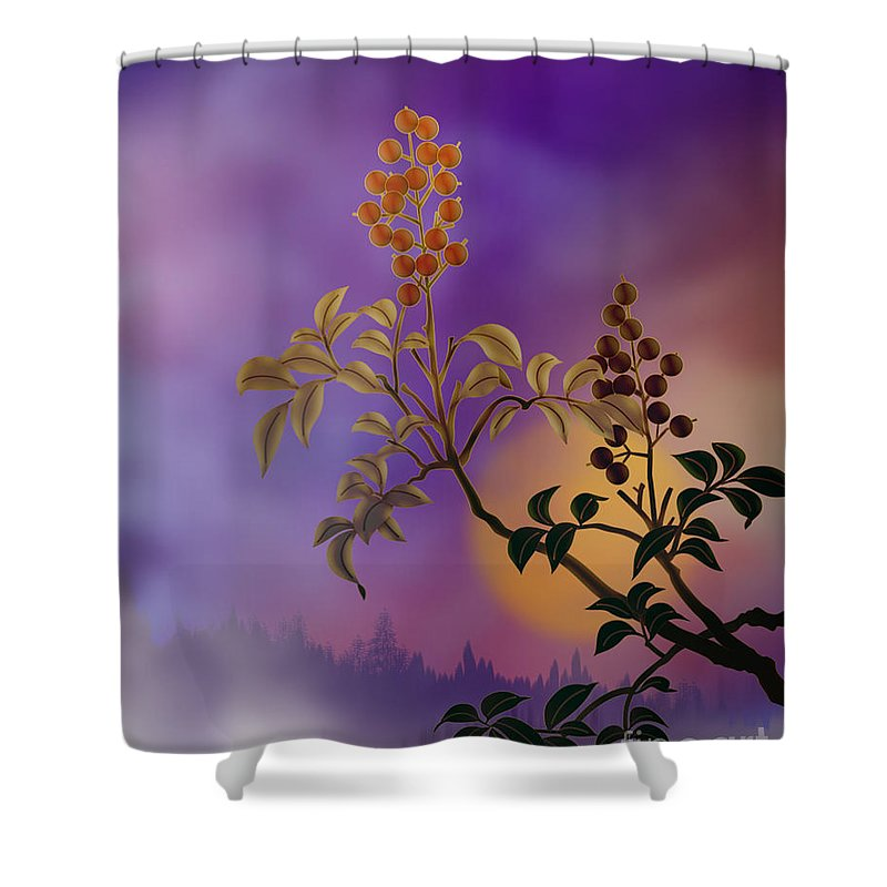 Nature Shower Curtain featuring the digital art Nandina The Beautiful by Peter Awax