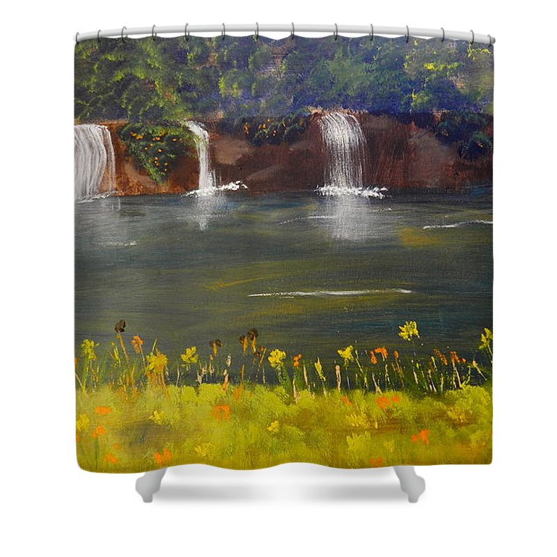Impressism Shower Curtain featuring the painting Nandroy Falls In Queensland by Pamela Meredith