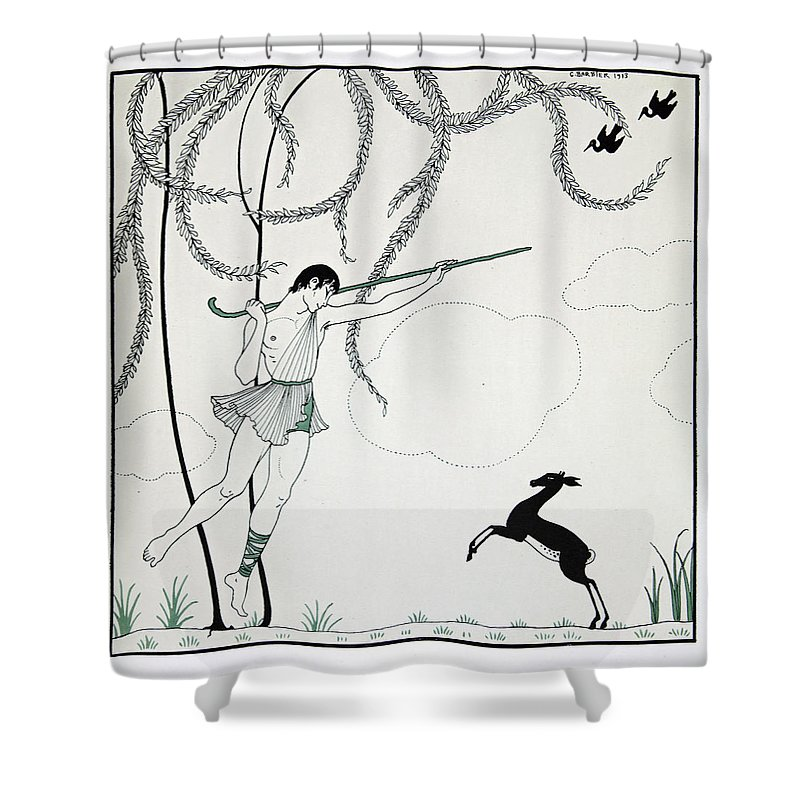 Ballet Shower Curtain featuring the painting Narcisse by Georges Barbier