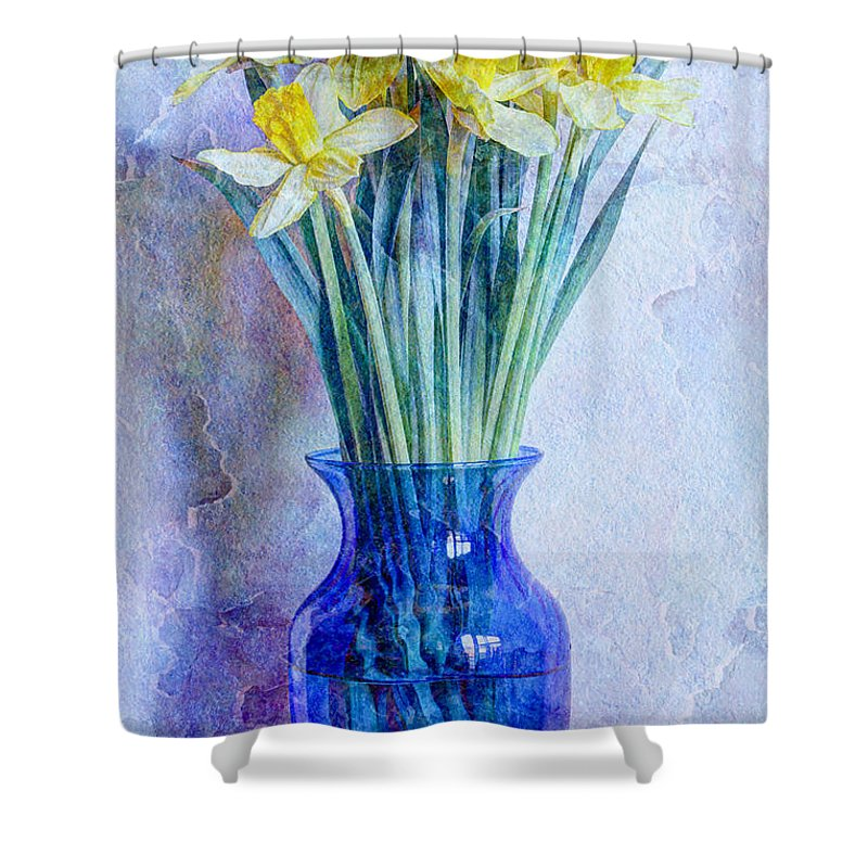 Blue Shower Curtain featuring the photograph Narcissus by Heidi Smith