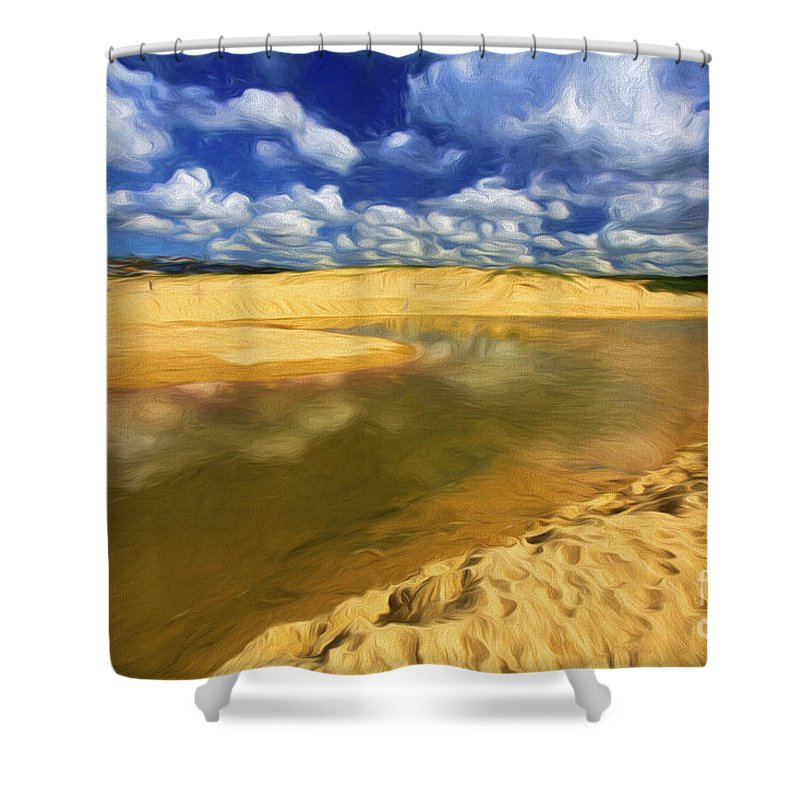North Curl Curl Shower Curtain featuring the photograph North Curl Curl With Clouds by Sheila Smart Fine Art Photography