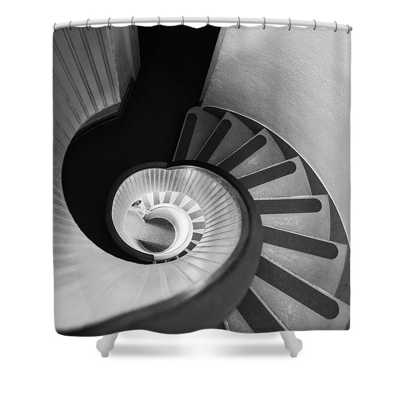 Steps Shower Curtain featuring the photograph Narrow Circular Staircase Abstract by Art Wager