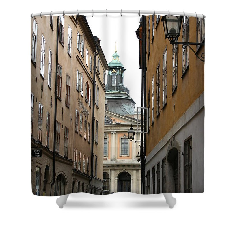 Road Shower Curtain featuring the photograph Narrow Road Stockholm by Christiane Schulze Art And Photography