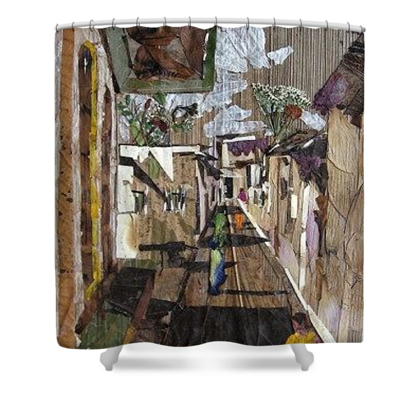 Street Scene Shower Curtain featuring the mixed media Narrow Street by Basant Soni