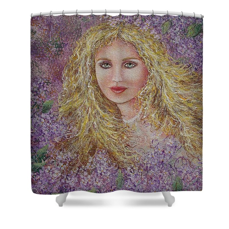 Portrait Shower Curtain featuring the painting Natalie In Lilacs by Natalie Holland