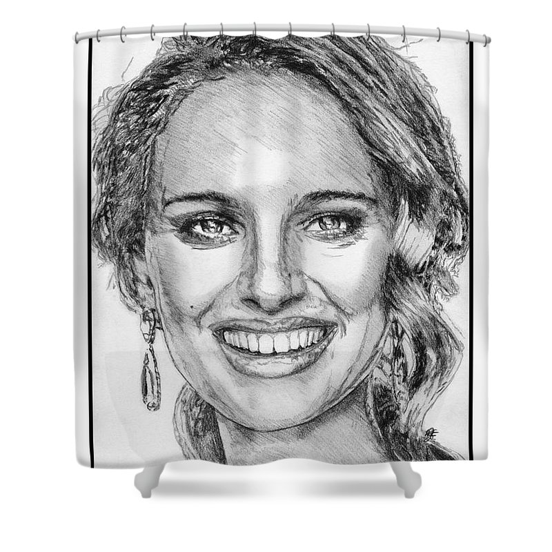 Mccombie Shower Curtain featuring the drawing Natalie Portman In 2011 by J McCombie