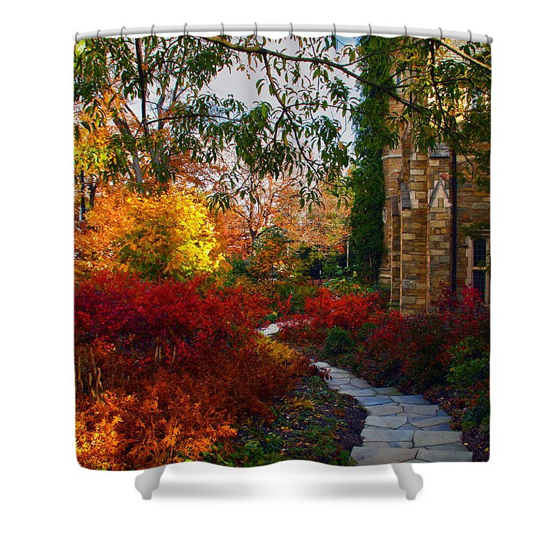 National Cathedral Shower Curtain featuring the photograph National Cathedral Path by Mitch Cat