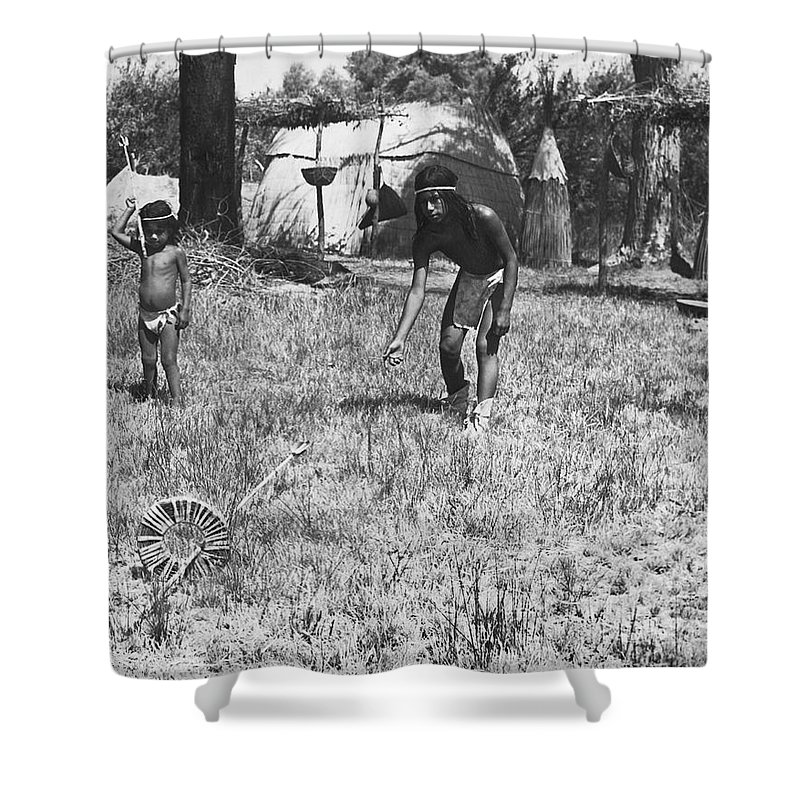 1920s Shower Curtain featuring the photograph Native American Games by Underwood Archives Onia