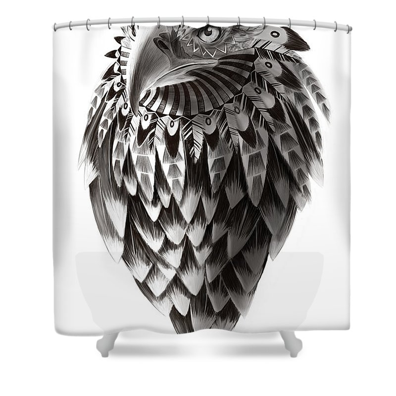 Eagle Drawing Shower Curtain Featuring The Painting Native American Shaman By Sassan Filsoof