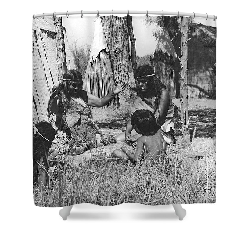 1920s Shower Curtain featuring the photograph Native American Story Telling by Underwood Archives Onia