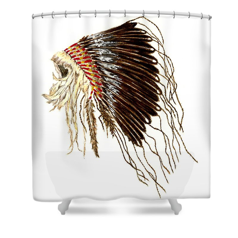 Native American Shower Curtain Featuring The Painting War Bonnet