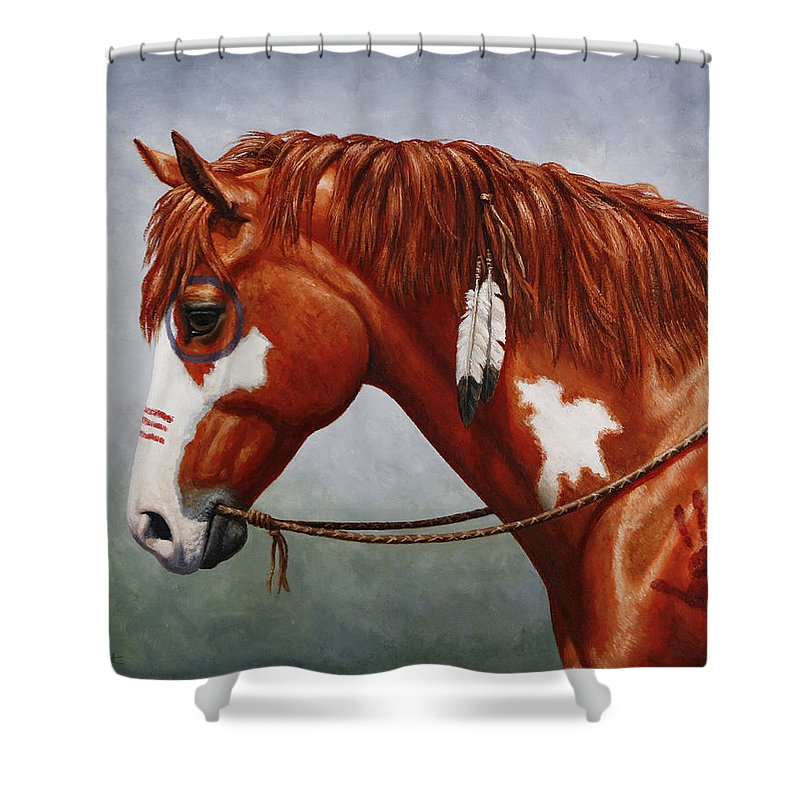 Horse Shower Curtain featuring the painting Native American War Horse by Crista Forest