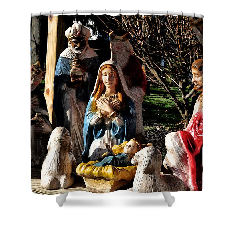Nativity Shower Curtain Featuring The Photograph By Bill Cannon