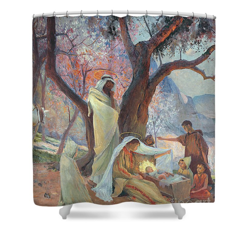 Jesus Christ Shower Curtain Featuring The Painting Nativity By Frederic Montenard