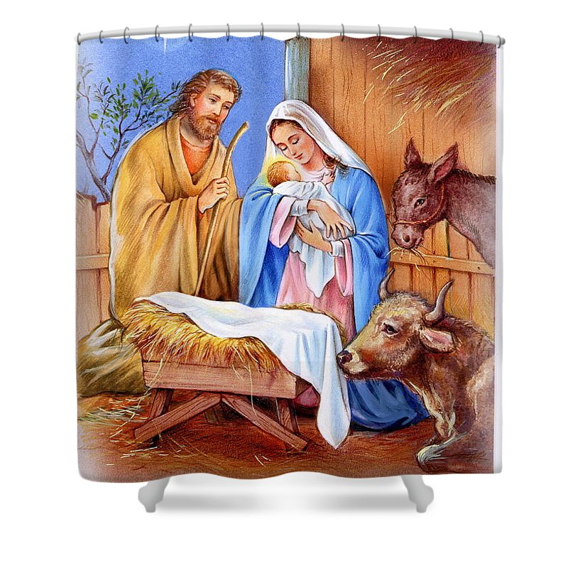 Jesus Shower Curtain Featuring The Painting Nativity Of By Patrick Hoenderkamp